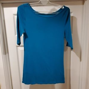 Teal Boatneck fitted tee